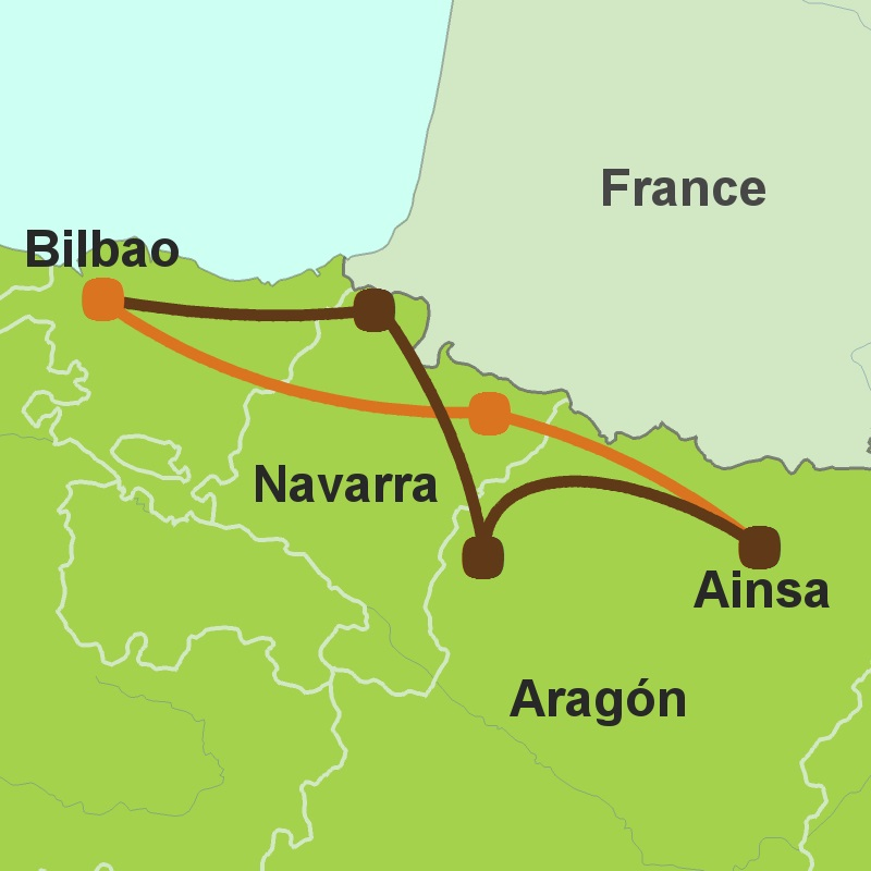 Map of west Pyrenees circular tour