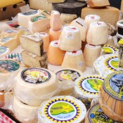 Nueva, Asturias - cheese stall on market