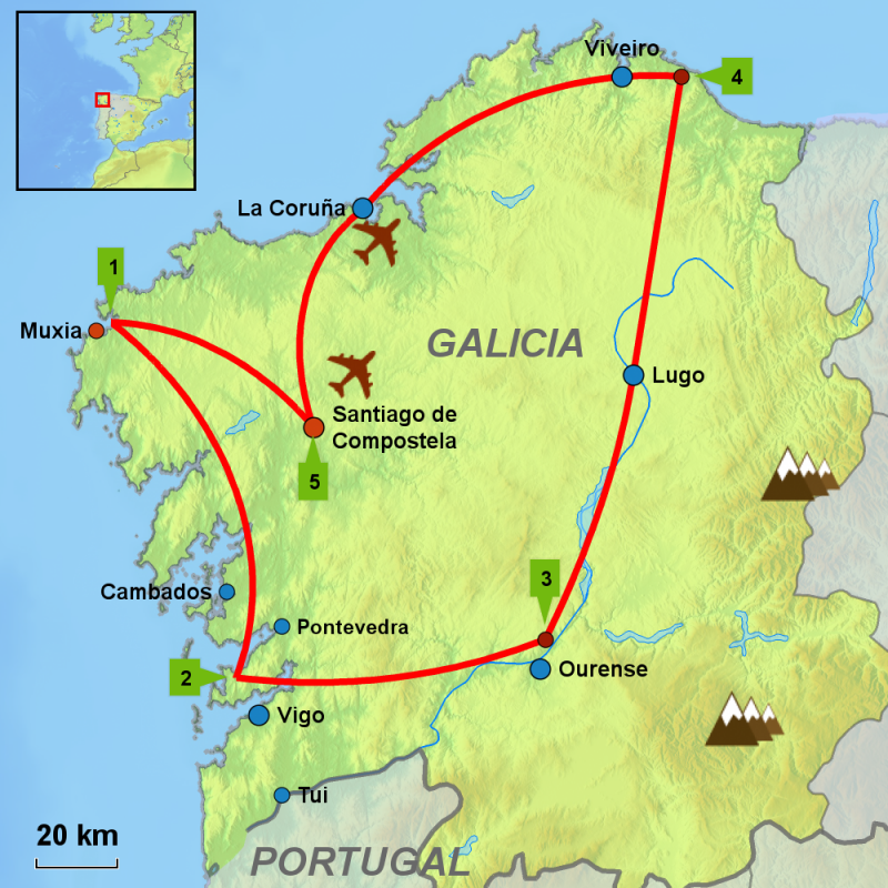 Map of Galicia driving tour