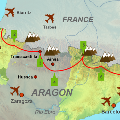 Map of touring holiday in the Pyrenees