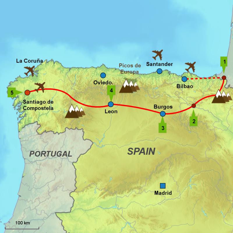 Map of Camino de Santiago self-drive tour