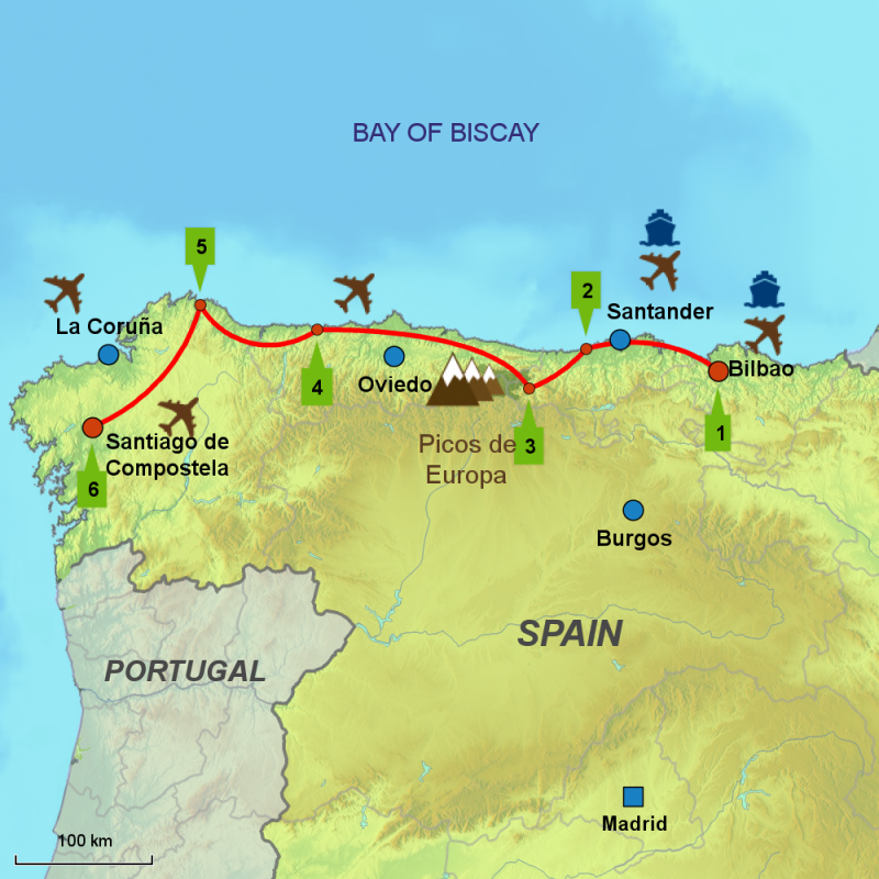 Map of Camino del Norte driving tour.