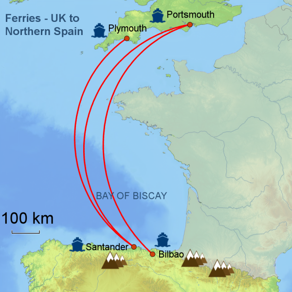 map of Ferry crossings to Spain
