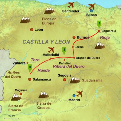 Map of Ribera del Duero & Rioja wine tour - Wine and Castles