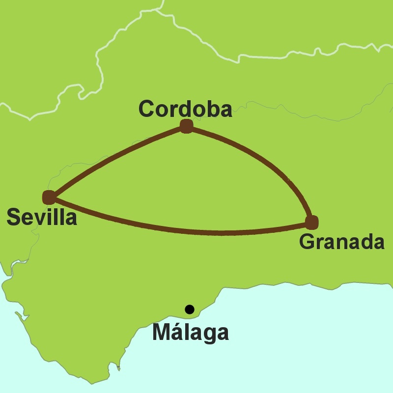 Map of Andalucia Golden Triangle
