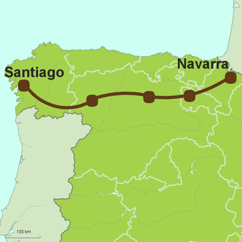 Map of Camino del Frances - Camino de Santiago