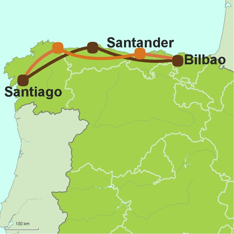 Map of Santiago circular tour