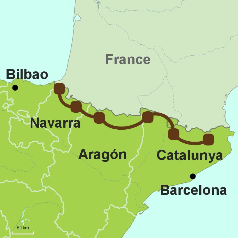 map of Spanish Pyrenees Tour