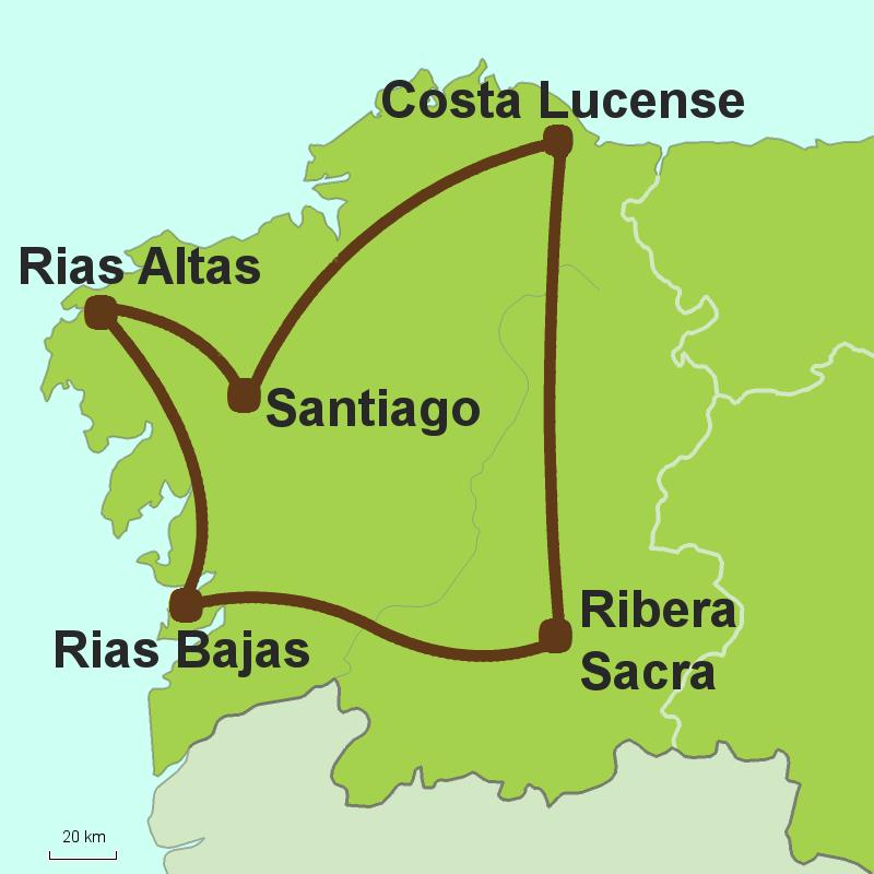 Map of circular tour of Galicia