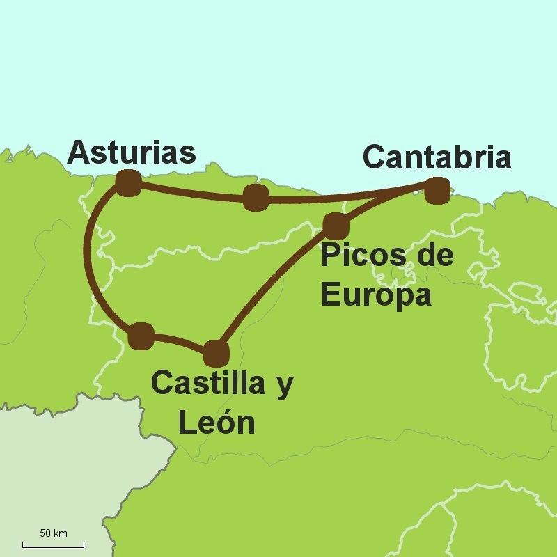 Map of Grand Tour of North Spain