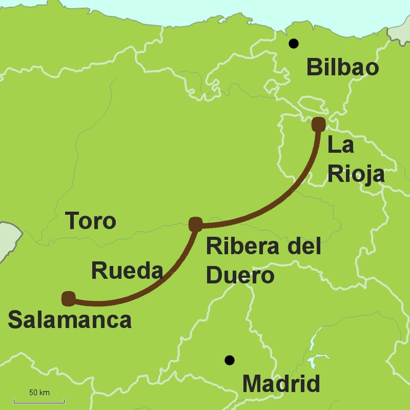 Map of wine tour Spain