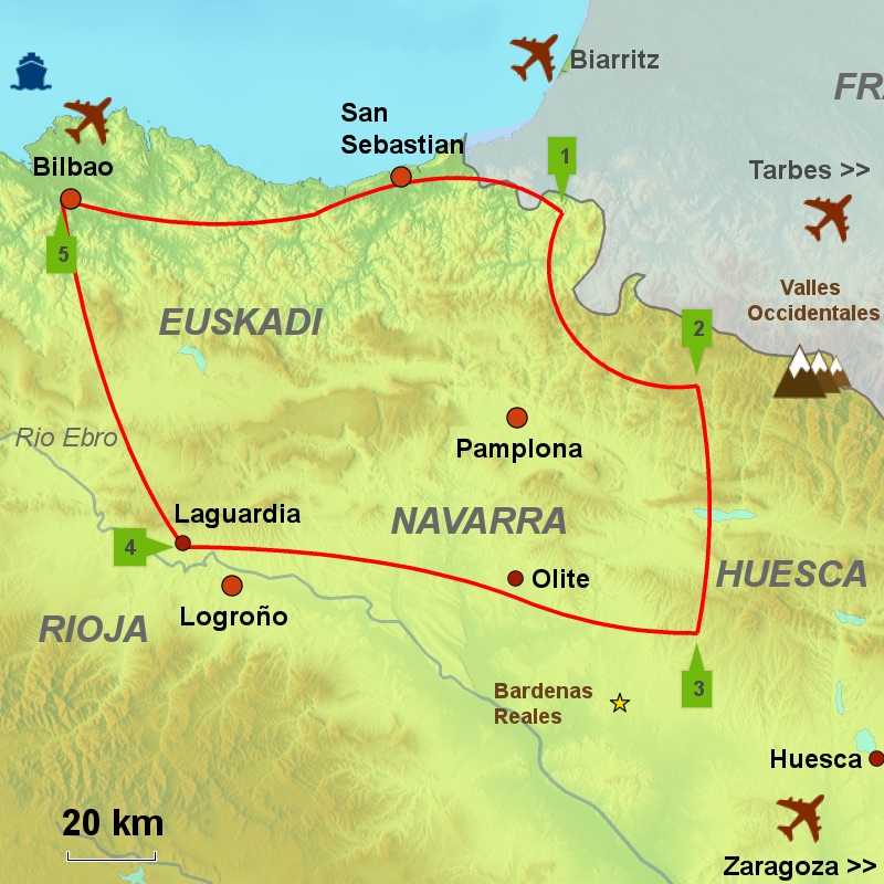 Map Of Spain Navarra.Wine Mountains Tour Pc4 Caminos Touring Holidays