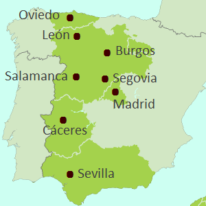 Map showing inland Spain touring region