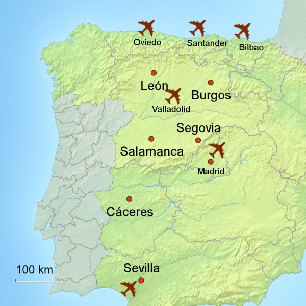 Map of inland Spain touring area
