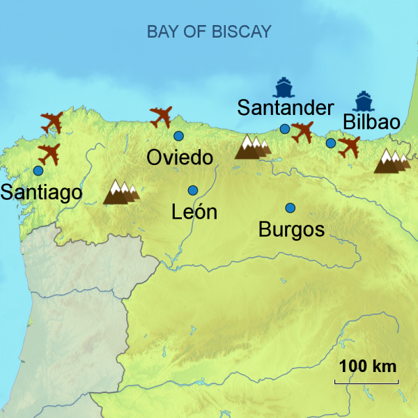 Map of northern Spain touring area