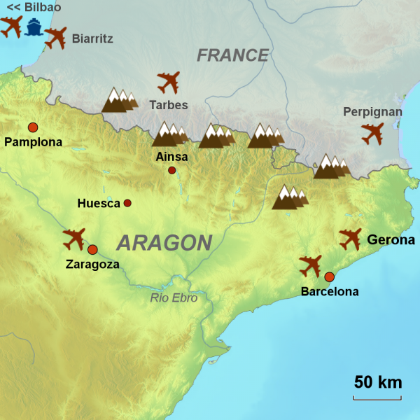 Map of Spanish Pyrenees touring area