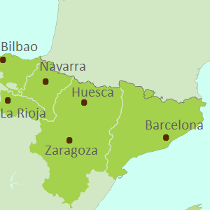 Map of Spanish Pyrenees touring region