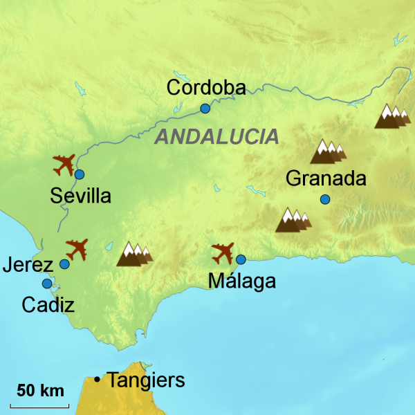 Map of travel to Andalucia
