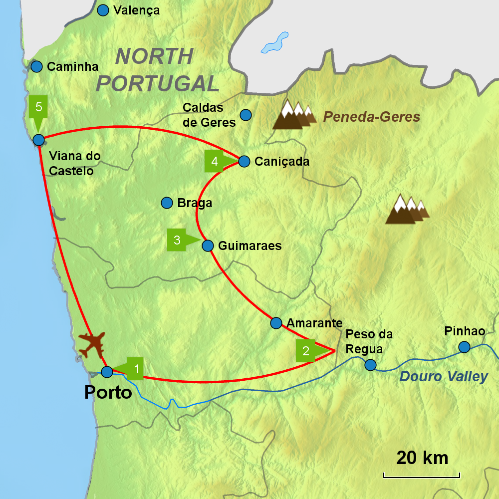 Day Tour North Portugal Caminos Touring Holidays In Portugal - Portugal map north