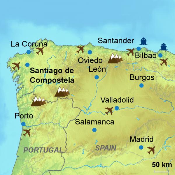 North to Santiago map