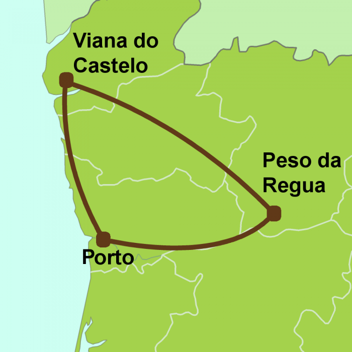 Map of north Portugal one-week tour
