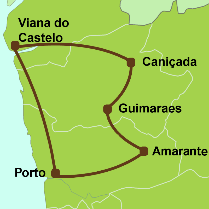 Map of north Portugal Tour