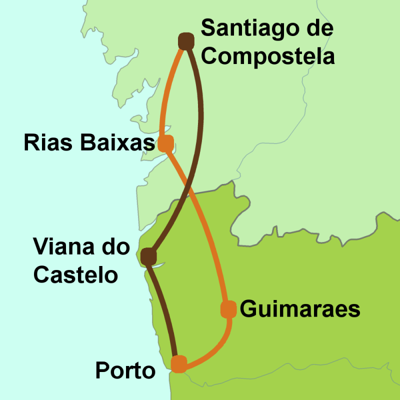 Map of Camino del Portugues tour