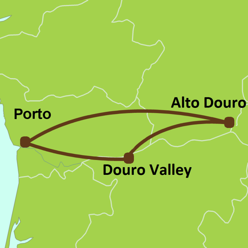 Map of tour of Douro Wine Valley