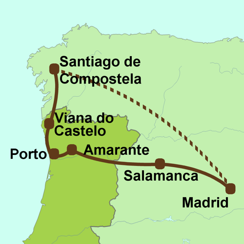 Map of tour - Madrid, Portugal, Galicia, Leon & Salamanca