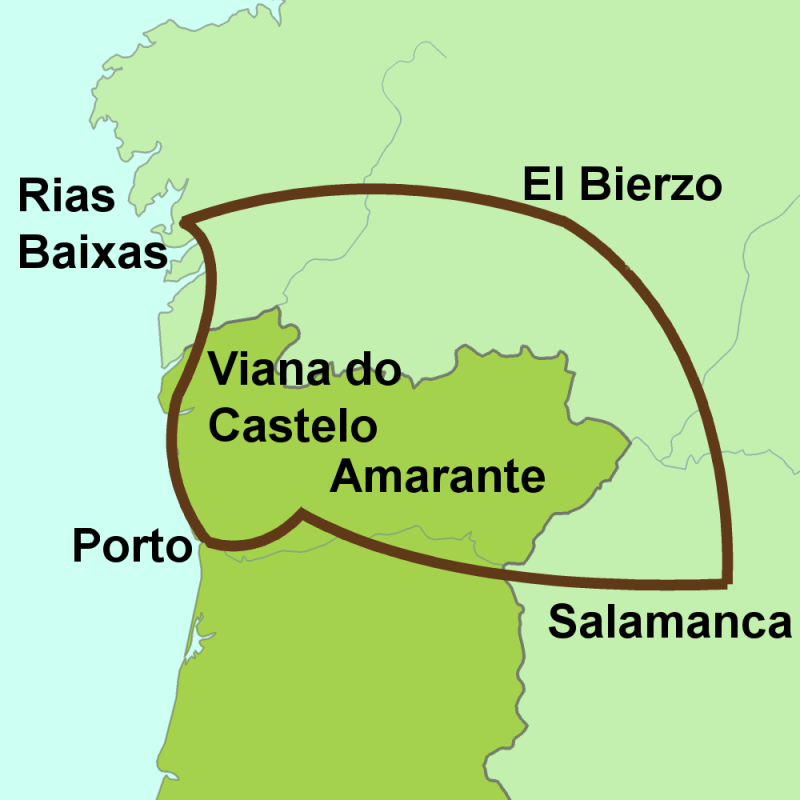 Map of tour Portugal, Galicia, Salamanca and Leon