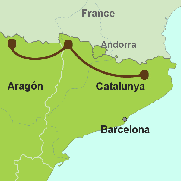 Map of East Pyrenees driving tour