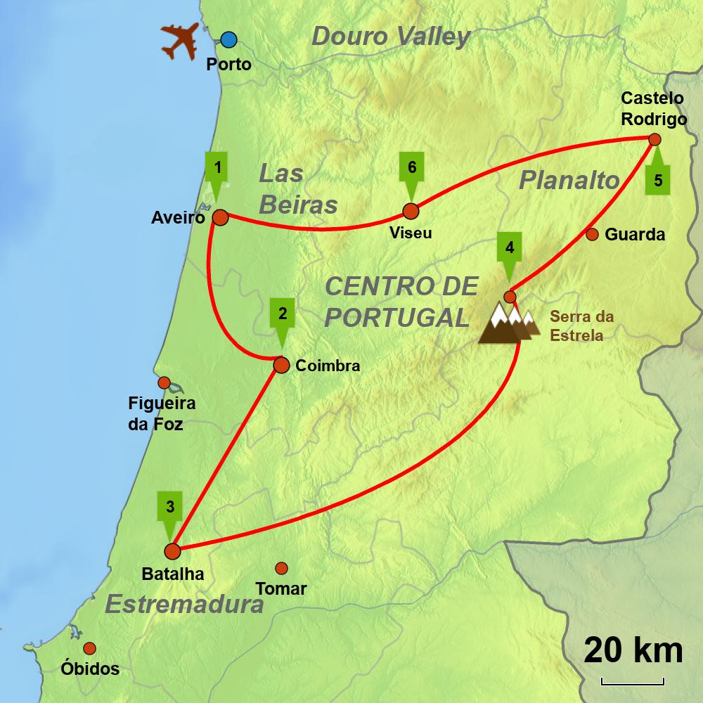 Centro De Portugal Tour Caminos Touring Holiday Portugal Spain - Portugal estremadura map