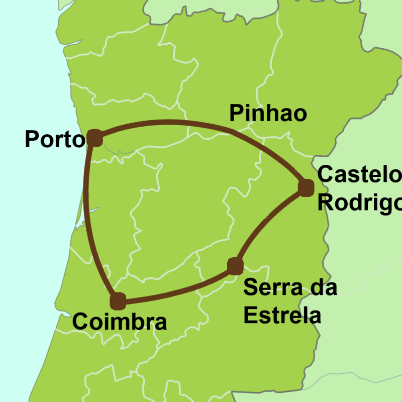 Map of Porto, Douro & Las Beiras Tour