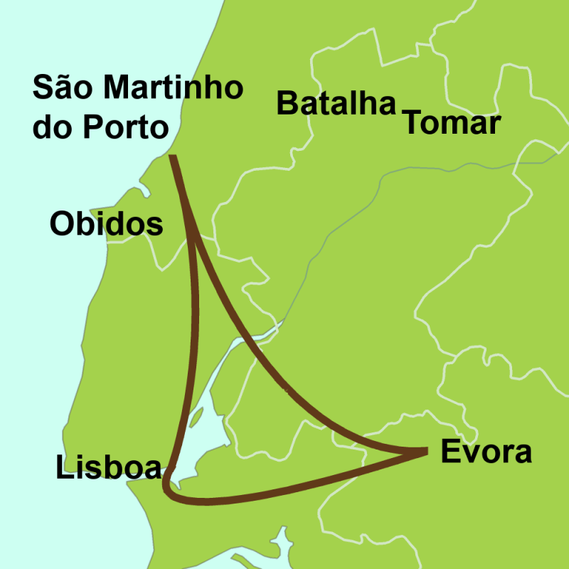 Map of tour Tour Lisboa - Évora - Estremadura
