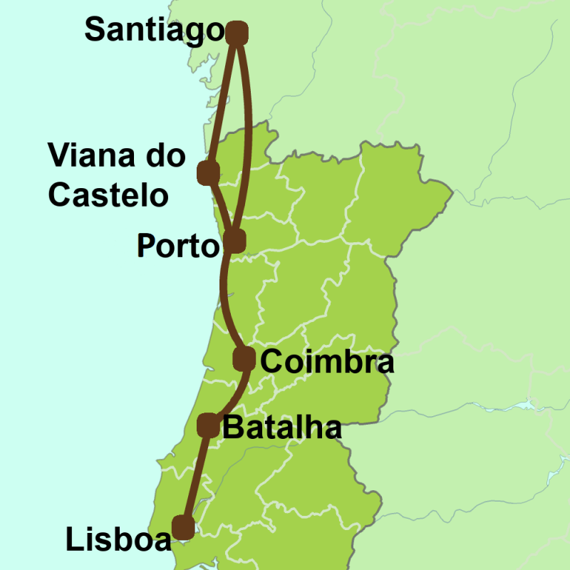 Map of Camino Portugues from Lisboa