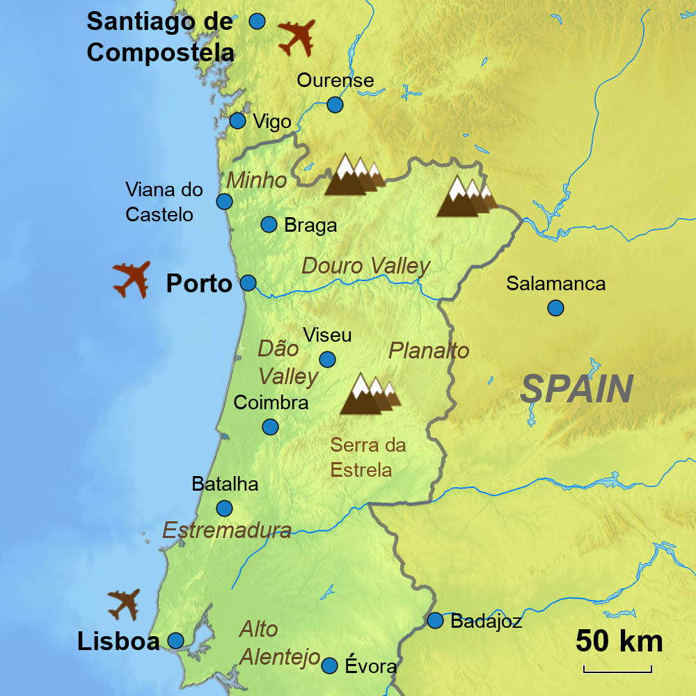 Portugal Touring Holidays - Portugal map minho