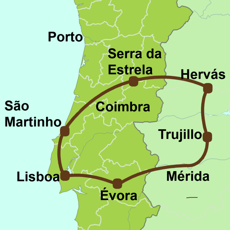 Map of Roman Lusitania tour