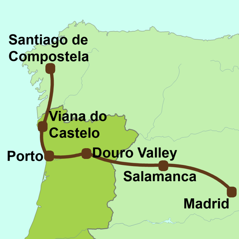 Map Madrid to Santiago via Oporto
