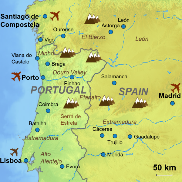 Map Overview Portugal Spain cross-border tours
