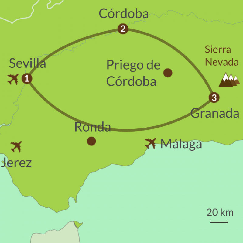 Detailed map of AC1 Andalucia Golden Triangle Tour