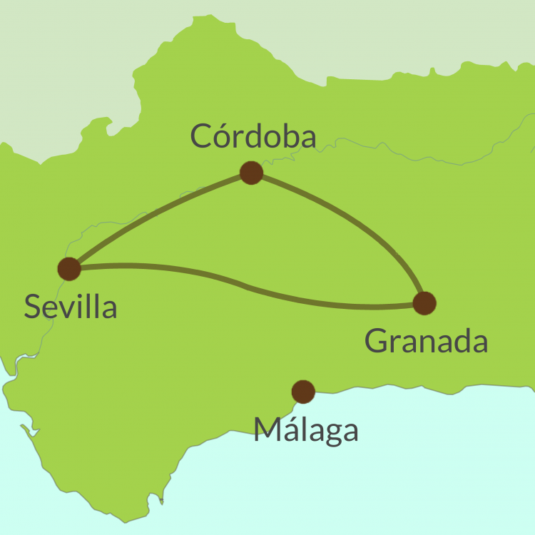 AC1 Small Map of Andalucia Golden Triangle tour