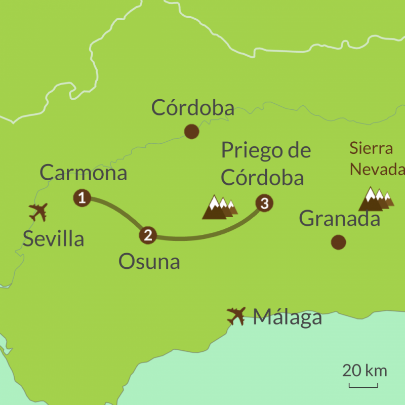 Detailed map of AC3 Andalucia Camino del Pasion Tour