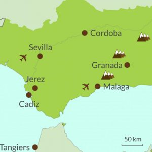 Map of Andalucia tours region