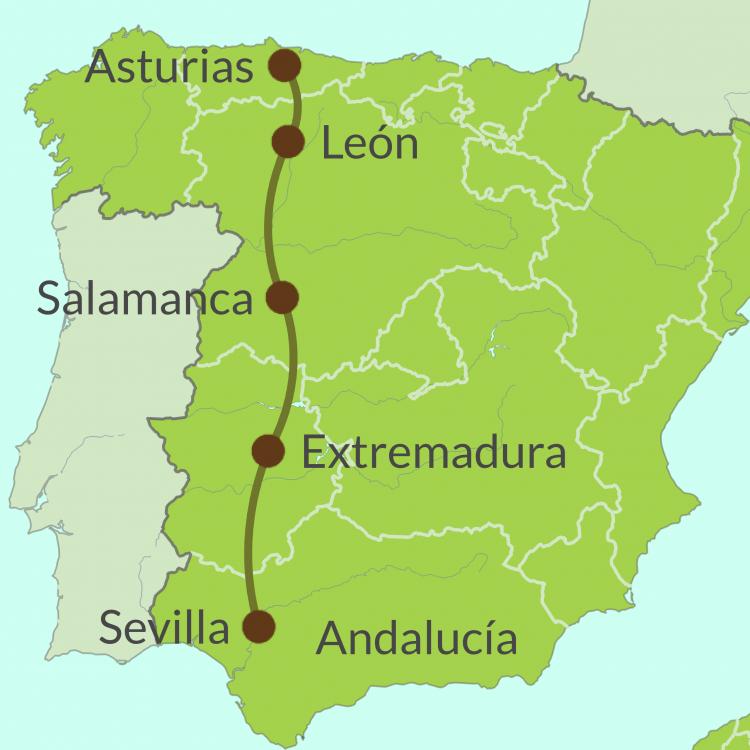 Map of Via de Plata Route
