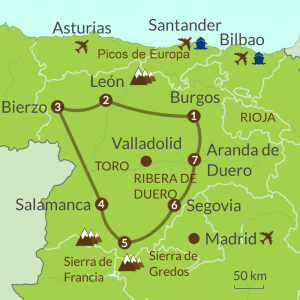 Detailed map of IC2 Castilla y León Tour