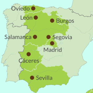 Map preview of Madrid and Inland Spain touring region