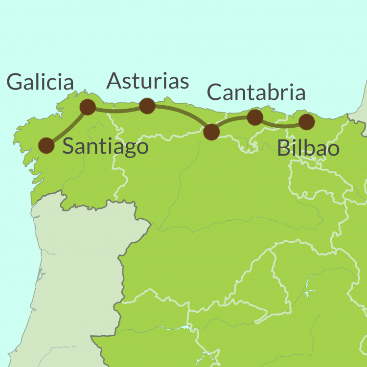 NC1 Small Map of Camino del Norte