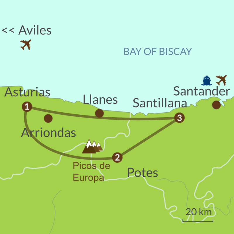Detailed map of NC4 Mar y Montaña Tour