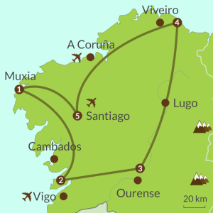 Detailed map of NC5 Discover Galicia Round Tour