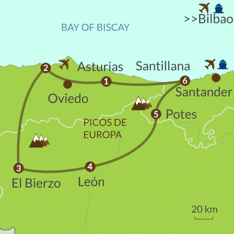 Detailed map of NC6 Grand Tour of North Spain